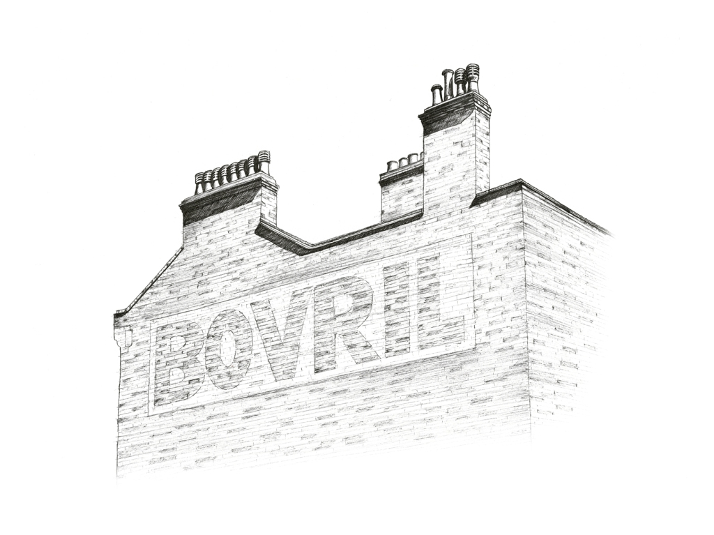 Bovril sign, Brixton. Illustration by Henry O'Boyle. Article Explore the Mesmerising World of Hand-Drawn Brixton by Creative Londoners.