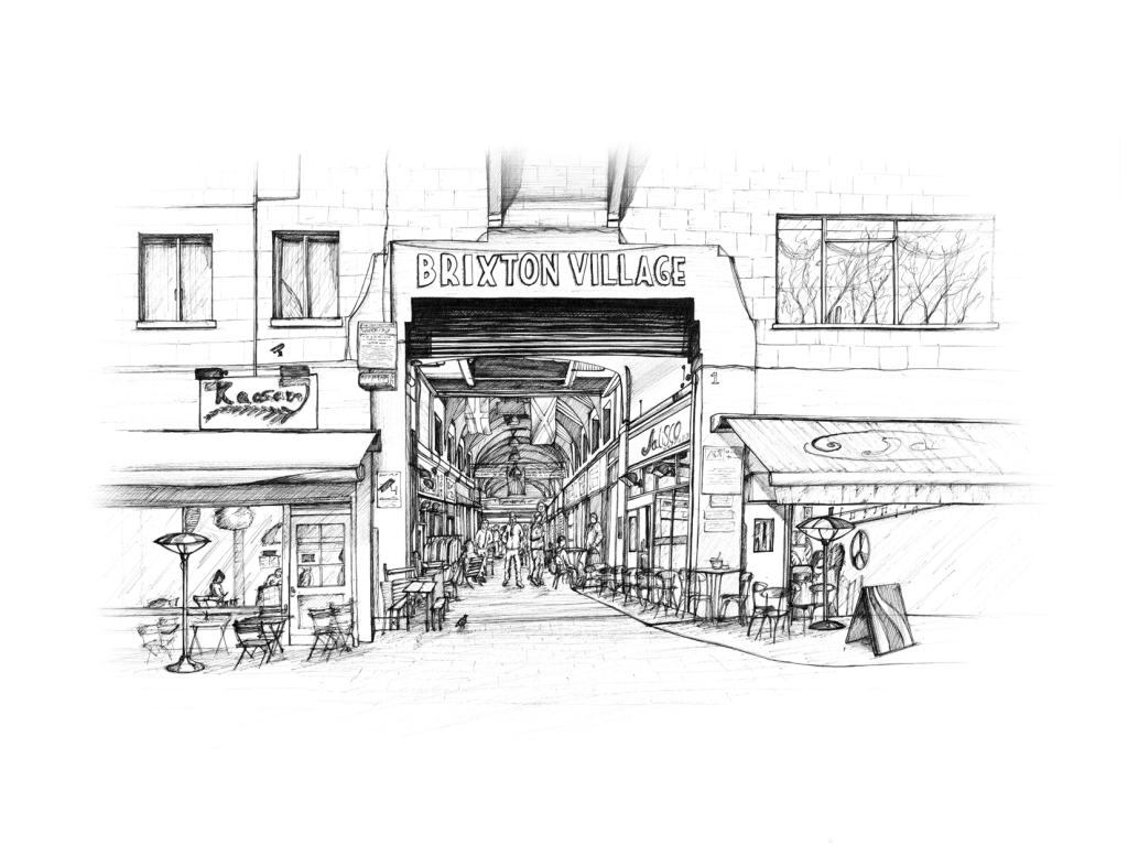 Brixton Village, Brixton. Illustration by Henry O'Boyle. Article Explore the Mesmerising World of Hand-Drawn Brixton by Creative Londoners.