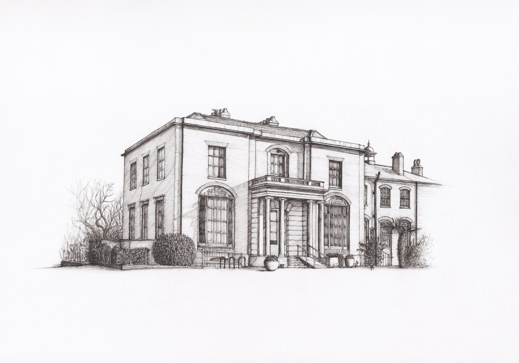 Brockwell Hall, Brixton. Illustration by Henry O'Boyle. Article Explore the Mesmerising World of Hand-Drawn Brixton by Creative Londoners.