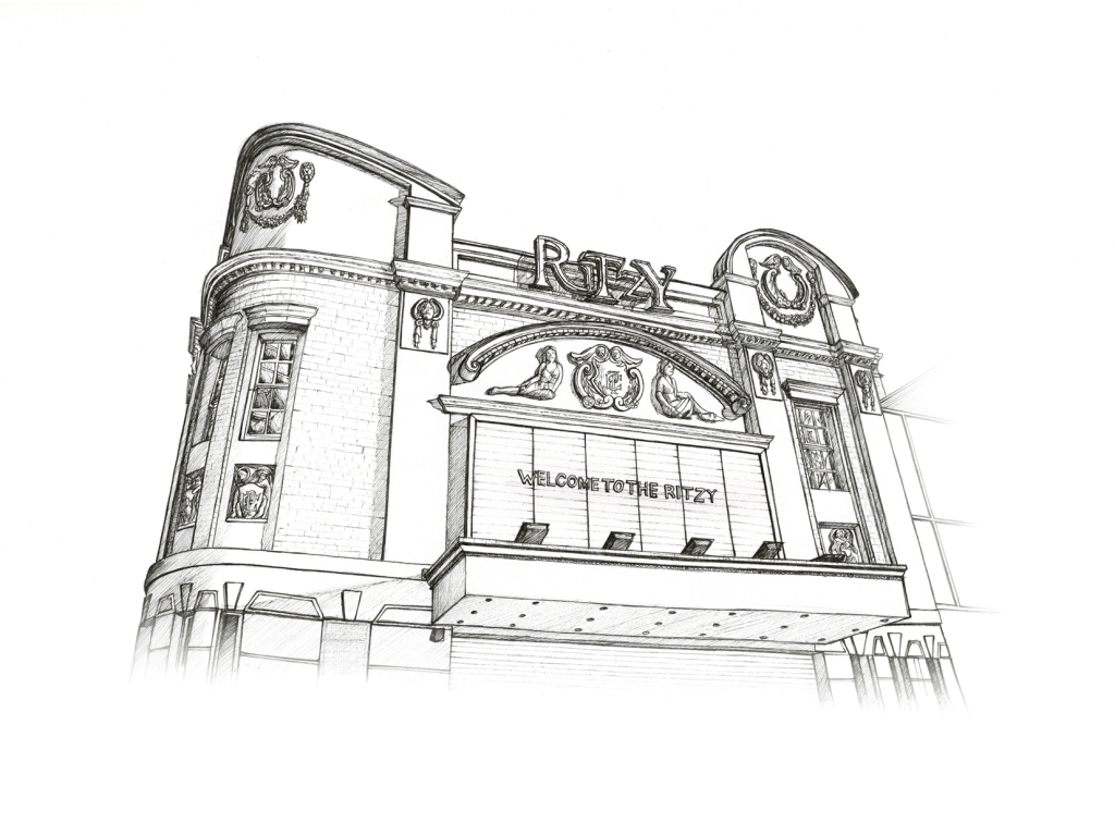 Ritzy Cinema, Brixton. Illustration by Henry O'Boyle. Article Explore the Mesmerising World of Hand-Drawn Brixton by Creative Londoners.