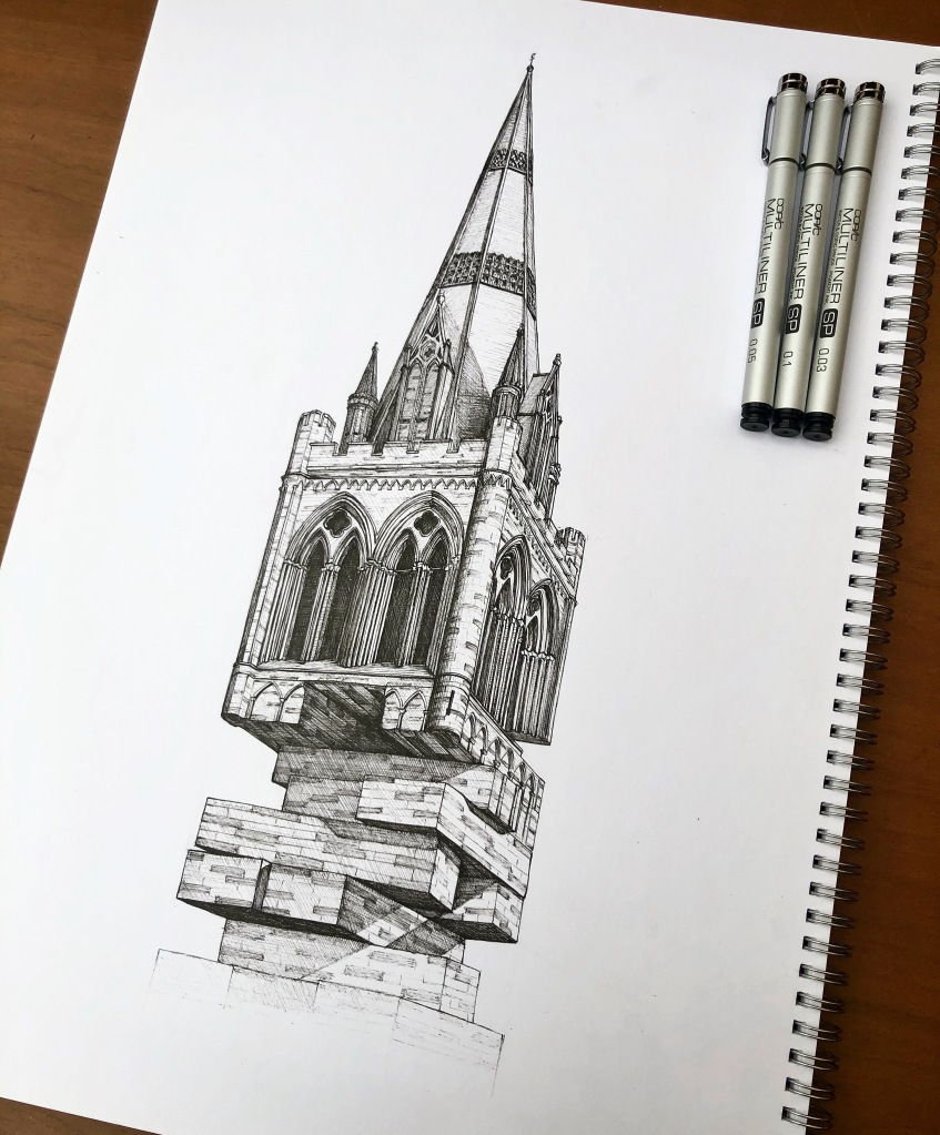 Chichester Cathedral. Illustration by Henry O'Boyle. Article Explore the Mesmerising World of Hand-Drawn Brixton by Creative Londoners.